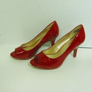 Red Faux Patent Open Toe Pumps Heels Shoes Sz 7M